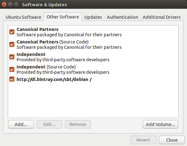 Ubuntu Software & Updates Screenshot